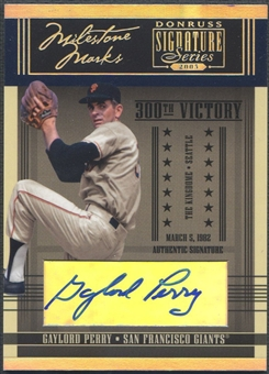 2005 Donruss Signature #3 Gaylord Perry Milestone Marks Auto