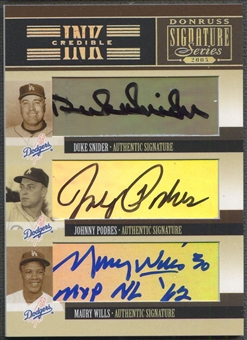 2005 Donruss Signature #40 Duke Snider, Johnny Podres, & Maury Wills INKcredible Trios Auto