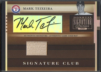 2005 Donruss Signature #8 Mark Teixeira Signature Club Bat Auto