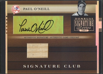 2005 Donruss Signature #1 Paul O'Neill Signature Club Bat Auto