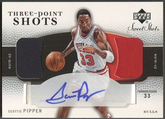 2005/06 Sweet Shot #SP Scottie Pippen Three Point Shots Jersey Auto /33
