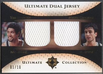 2005/06 Ultimate Collection #DJDG Tim Duncan & Manu Ginobili Dual Gold Jersey #01/10