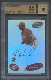 2003 Bowman's Best #RH Ryan Howard Rookie Auto BGS 9.5