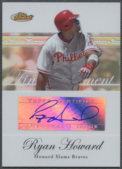2007 Finest #RH Ryan Howard Rookie Finest Moments Refractor Auto #15/25