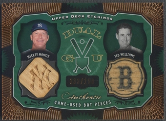 2004 Upper Deck Etchings #MW Mickey Mantle & Ted Williams Game Bat Dual Bat #133/150
