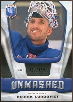 2009/10 Upper Deck Be A Player Goalies Unmasked #GU10 Henrik Lundqvist /499