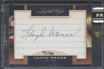2011 Donruss Limited Cuts #225 Lloyd Waner Cut Auto #21/49