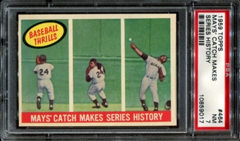 1959 Topps Baseball #464 Willie Mays' Catch Makes Series History PSA 7 (NM) *9017