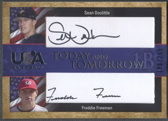 2006 USA Baseball #5 Sean Doolittle & Freddie Freeman Today and Tomorrow Signatures Black Auto #186/295