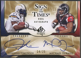 2009 SP Authentic #TT Michael Turner & LaDainian Tomlinson Sign of the Times Dual Auto #14/25