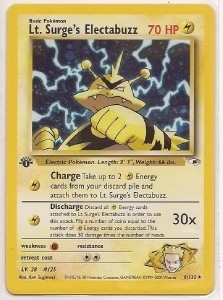 Pokemon Gym Heroes 1st Edition Single Lt. Surge's Electabuzz 6/132