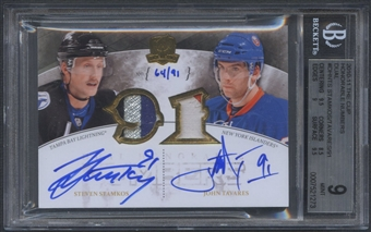 2010/11 The Cup #TS Steven Stamkos & John Tavares Honorable Numbers Dual Patch Auto #64/91 BGS 9