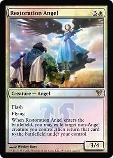Magic the Gathering Avacyn Restored Single Restoration Angel Prerelease Foil - SLIGHT PLAY (SP)