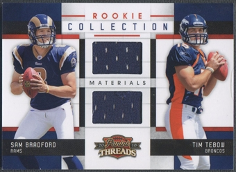 2010 Panini Threads #15 Sam Bradford & Tim Tebow Rookie Collection Rookie Jersey #099/299
