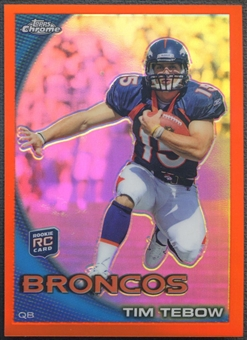2010 Topps Chrome #C100 Tim Tebow Orange Refractor Rookie