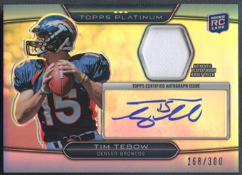 2010 Topps Platinum #TT Tim Tebow Rookie Patch Auto #268/300