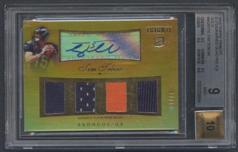 2010 Topps Tribute #AQRTTE Tim Tebow Quad Gold Rookie Jersey Auto #09/15 BGS 9