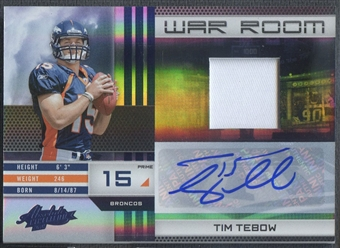 2010 Absolute Memorabilia #18 Tim Tebow War Room Materials Patch Auto #01/10