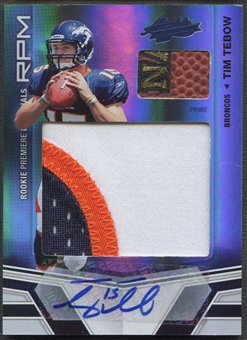 2010 Absolute Memorabilia #204 Tim Tebow Rookie Premiere Materials Oversize Spectrum Patch Auto #04/10