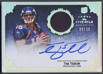 2010 Topps Five Star #180 Tim Tebow Rookie Platinum Patch Auto #09/20