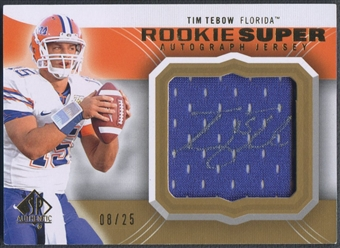 2010 SP Authentic #TT Tim Tebow Rookie Super Jersey Auto #08/25