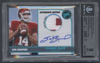 2010 Press Pass PE #GDGSB Sam Bradford Game Day Gear Rookie Jersey Auto #21/25 BGS 9