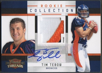 2010 Panini Threads #34 Tim Tebow Rookie Collection Materials Patch Auto #05/15
