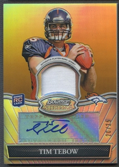 2010 Bowman Sterling #BSARTT Tim Tebow Gold Refractor Jersey Auto #20/25