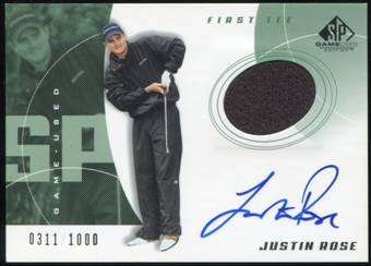 2002 Upper Deck SP Game Used #71 Justin Rose T2 RC Jersey Autograph 311/1000