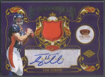 2010 Crown Royale #11 Tim Tebow Rookie Royalty Materials Jersey Auto #18/25