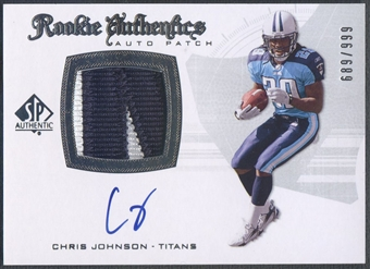 2008 SP Authentic #288 Chris Johnson Rookie Patch Auto #689/999