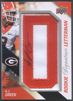 "2011 Upper Deck #RSLAG A.J. Green Rookie Letter ""D"" Patch Auto #16/35"