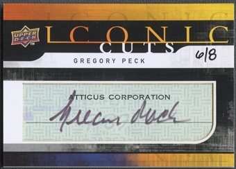 2008 Upper Deck #UD-IC Gregory Peck Mystery Iconic Cuts Cut Auto #6/8