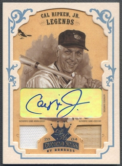 2004 Diamond Kings #160 Cal Ripken DK Combos Framed Platinum White Sepia Bat Jersey Auto #1/1