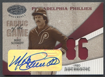 2004 Leaf Certified #80 Mike Schmidt Materials Fabric of the Game Jersey Auto #1/2