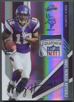 2009 Absolute Memorabilia #212 Percy Harvin Rookie Premiere Materials Laundry Tag Auto #1/1