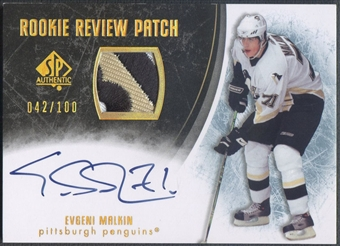 2007/08 SP Authentic #RREM Evgeni Malkin Rookie Review Patch Auto #042/100