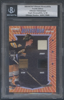2003/04 BAP Ultimate Memorabilia Bobby Orr Ultimate Defenseman Jersey Stick Skate #04/20