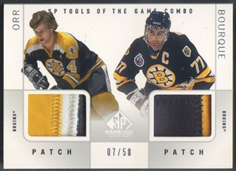 2000/01 SP Game Used #DOB Bobby Orr & Ray Bourque Patch #07/50