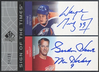 2002/03 SP Authentic #GW Wayne Gretzky & Gordie Howe Sign of the Times Auto #94/99