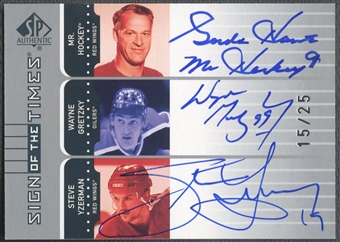 2001/02 SP Authentic #HGY Gordie Howe Wayne Gretzky Steve Yzerman Sign of the Times Auto #15/25