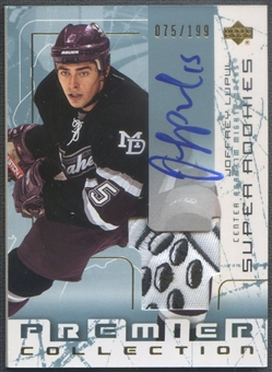 2003/04 UD Premier Collection #111 Joffrey Lupul Rookie Patch Auto #075/199