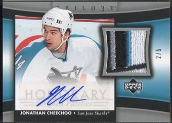 2005/06 Upper Deck Trilogy #HSPJC Jonathan Cheechoo Honorary Patch Scripts Auto #2/5