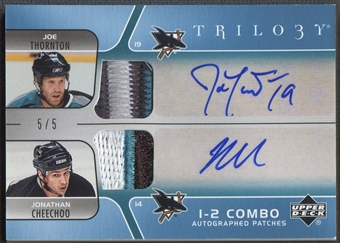 2006/07 Upper Deck Trilogy #CJTC Joe Thornton & Jonathan Cheechoo Combo Patch Auto #5/5