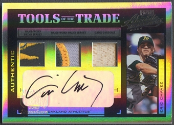 2004 Absolute Memorabilia #47 Eric Chavez Tools of the Trade Material Signature Trio Bat Patch Auto #2/3