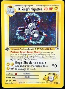 Pokemon Gym Heroes 1st Edition Single Lt. Surge's Magneton 8/132