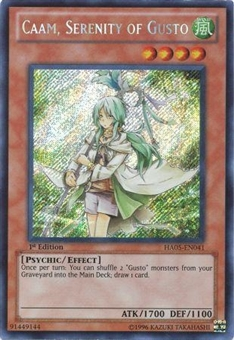 Yu-Gi-Oh Hidden Arsenal 5 Single Caam, Serenity of Gusto Secret Rare - MODERATE PLAY (MP)