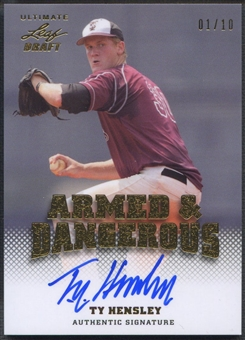 2012 Leaf Ultimate Draft #TH1 Ty Hensley Armed and Dangerous Gold Rookie Auto #01/10