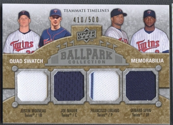 2009 Upper Deck Ballpark Collection Francisco Liriano Joe Mauer Denard Span Justin Morneau Jersey #410/500