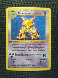 Pokemon Base Set 1 Single 1st Edition Alakazam 1/102 - Shadowless LIGHT PLAY